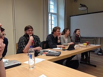 v.li.: Timo Maul (Saar), Richard Schlenzig (Sachsen), Jan-Hendrik Jentsch (Schleswig-Holstein), Sonja Klein (Rheinland-Pfalz), Lotta Sukkienik (NRW); Foto: Andreas Wickel